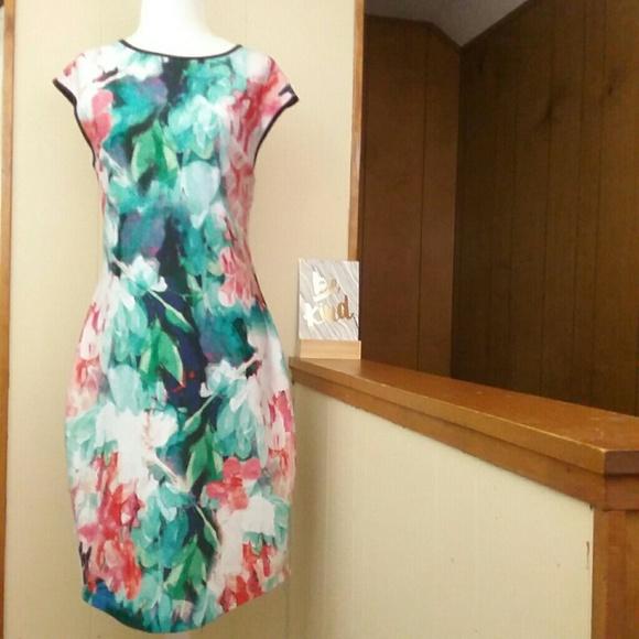 916c44b68eb5 Bisou Bisou Dresses | 12 Pink White Watercolor Floral Dress | Poshmark